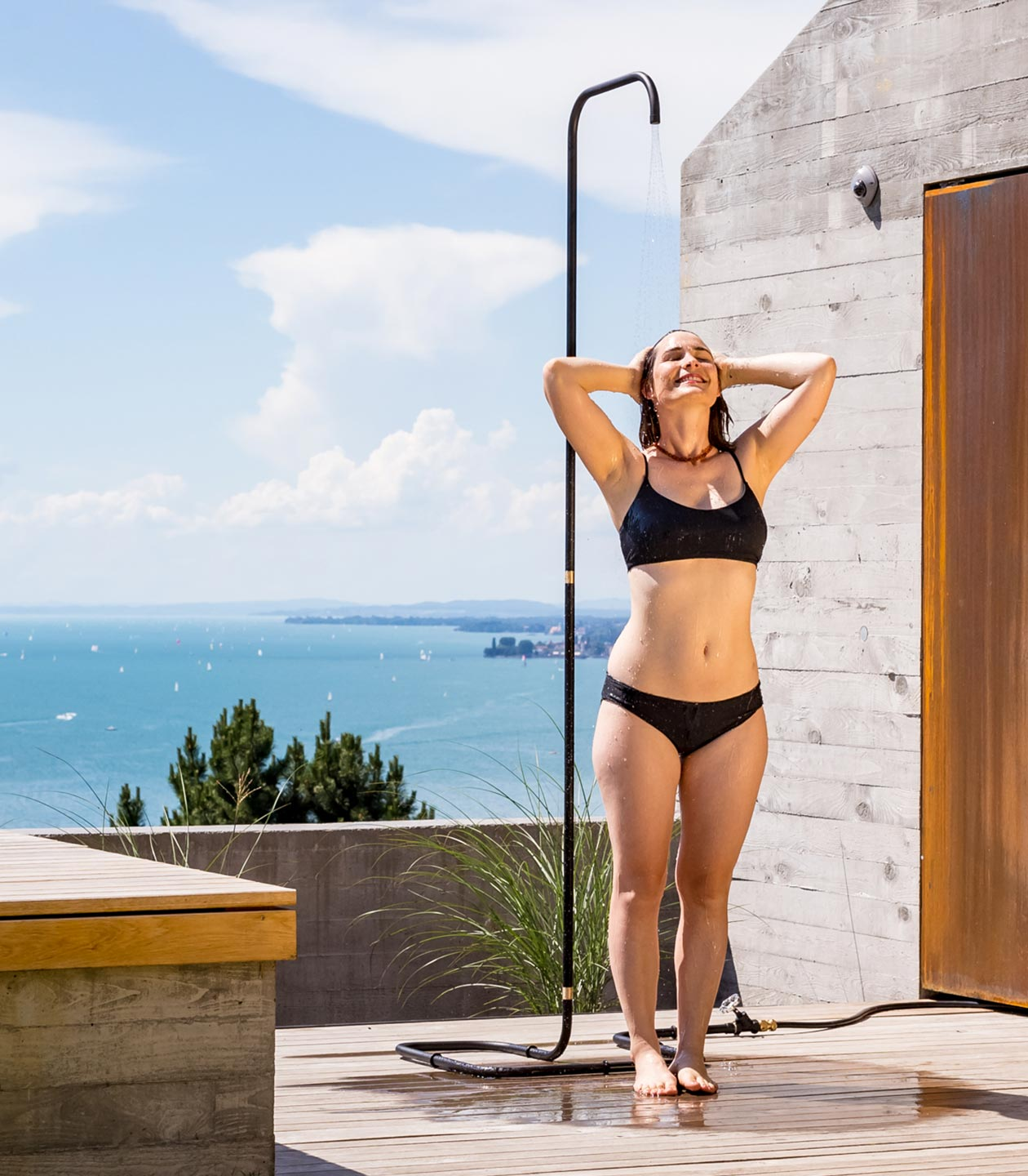 The most minimalist outdoor shower.